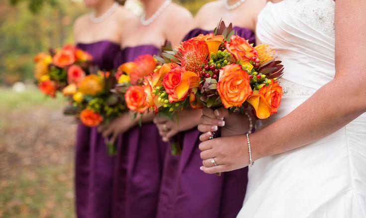 Orange and Purple Fall Wedding|Photo by: kandkphotographys.com