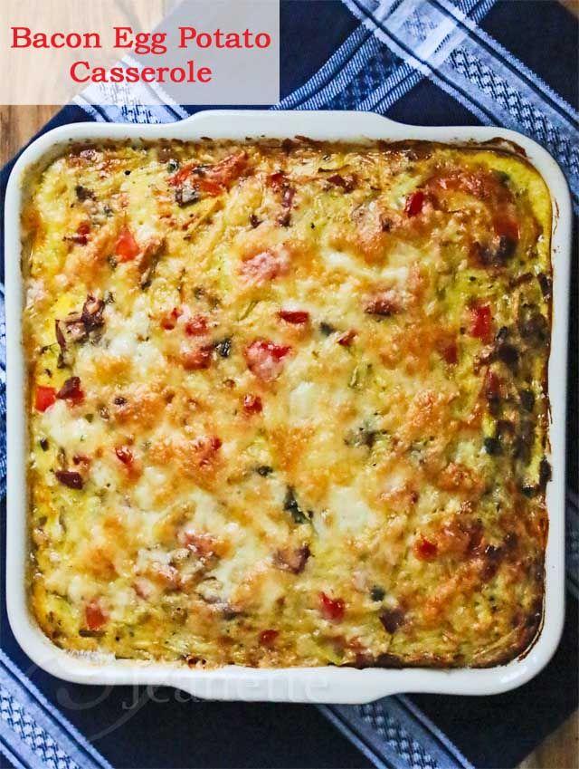 Healthy Bacon Egg Potato Breakfast Casserole Recipe #ComfortFoodFeast #brunch #breakfast #eggs