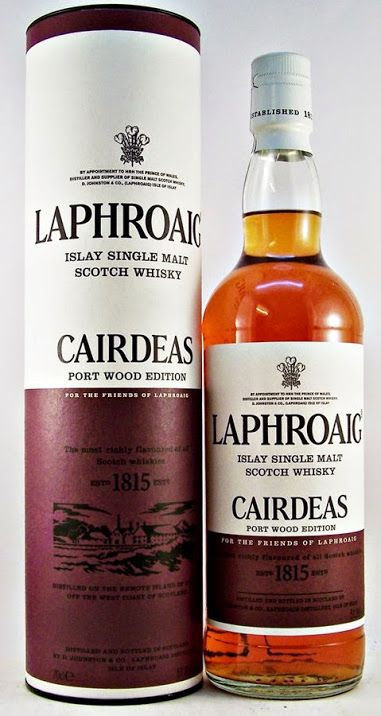 Laphroaig Cairdeas Port Wood Edition Islay Single Malt Scotch Whisky.  The Cairdeas for 2014 is a Laphroaig that has been double matured first in ex-bourbon barrels then in Amontillado hogsheads for one year.  This is truly paradise in a glass.