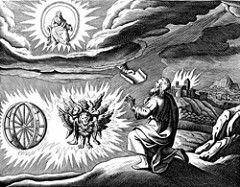 Ezekiel's first vision - four living creatures accompany a prophetic message from God (Ezekiel 1:1 - 1:28)
