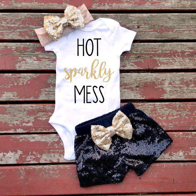 Hot Sparkly Mess Bodysuit, Baby, Baby Girl, Girls, Toddler, Newborn, New Baby, Glitter, Sparkle, Headband, Bow, Hot Mess, Love