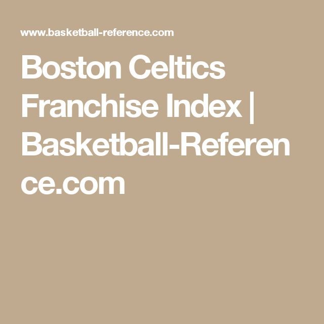 Boston Celtics Franchise Index | Basketball-Reference.com