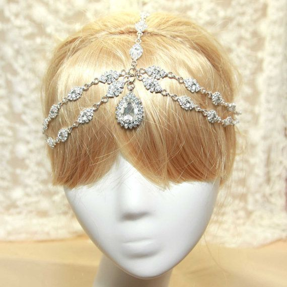 Details about Wedding Hair Vine Crystal Pearl Headband Bridal Accessories Long Chain Headpiece