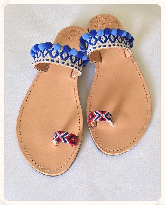 Pom Pom Sandals  Blue Lagoon' Genuine by BohemianFootprints