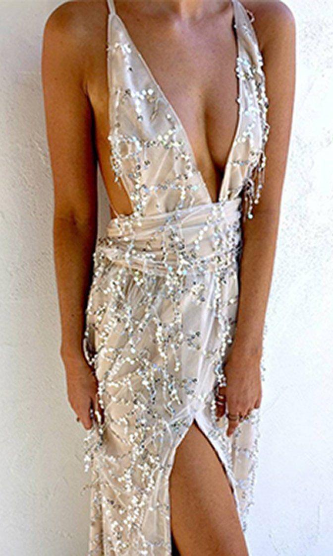 8cb32a95 Silver Strand White Sequin Tassel Sleeveless Backless Plunge V Neck Halter  High Slit Maxi Dress
