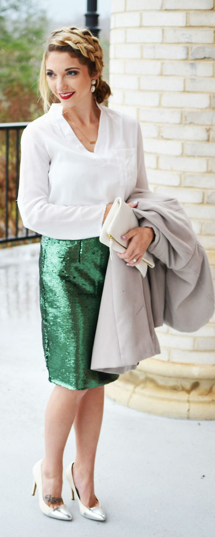 Holiday Office Party: white blouse green sequin skirt by Shein partywear find more women fashion on www.shein.com