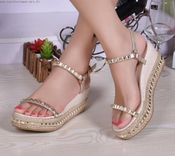 Nouveau femmes sandales 2016 chaussures d 39 eacute t eacute mode sandales  rivet paille tresse coins