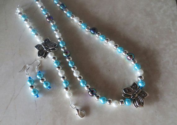 Vibrant #Aqua and #Butterfly Unique and Mixed-Matched Beaded #Jewelry by AlliFlair, $27.00 Free shipping worldwide with tracking number!