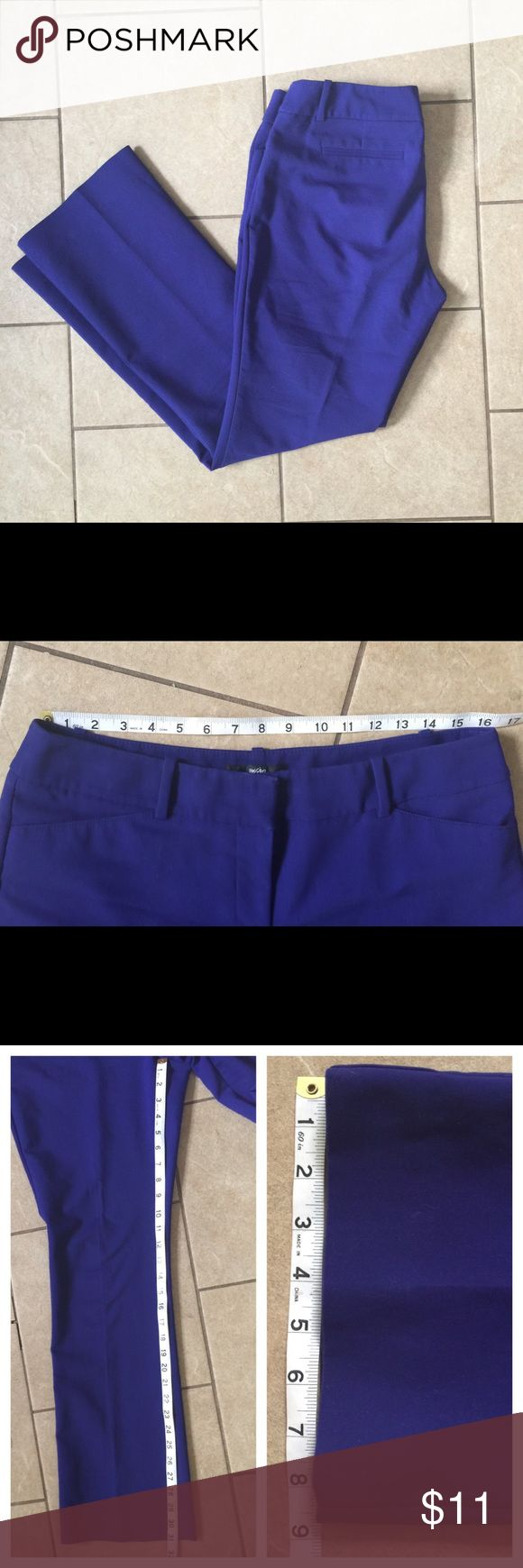 Mossimo Stretch Dress Pants Size 10 Color is electric blue/purple, measurements as shown. Two front pockets, two faux back pockets. Great condition no rips, stains or tears. Mossimo Supply Co Pants Boot Cut & Flare