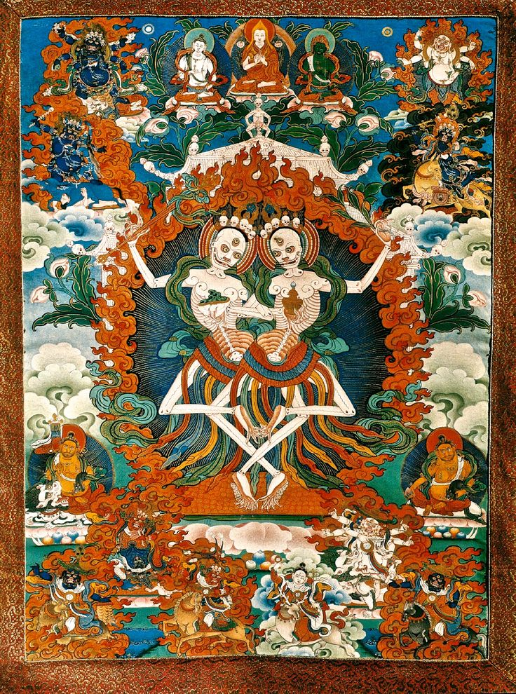 Kinkara,Citipati,Tibetan Thanka, Skeleton Lords of the Cemetery.