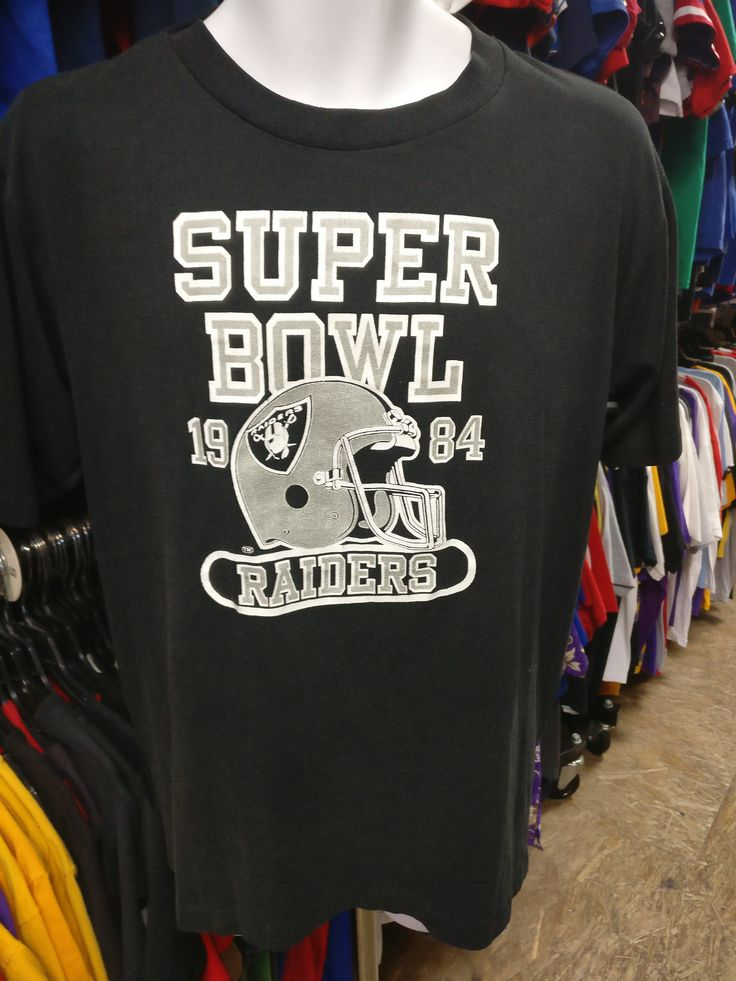 Vintage '84 LOS ANGELES RAIDERS NFL Super Bowl Logo 7 Inc T-Shirt L