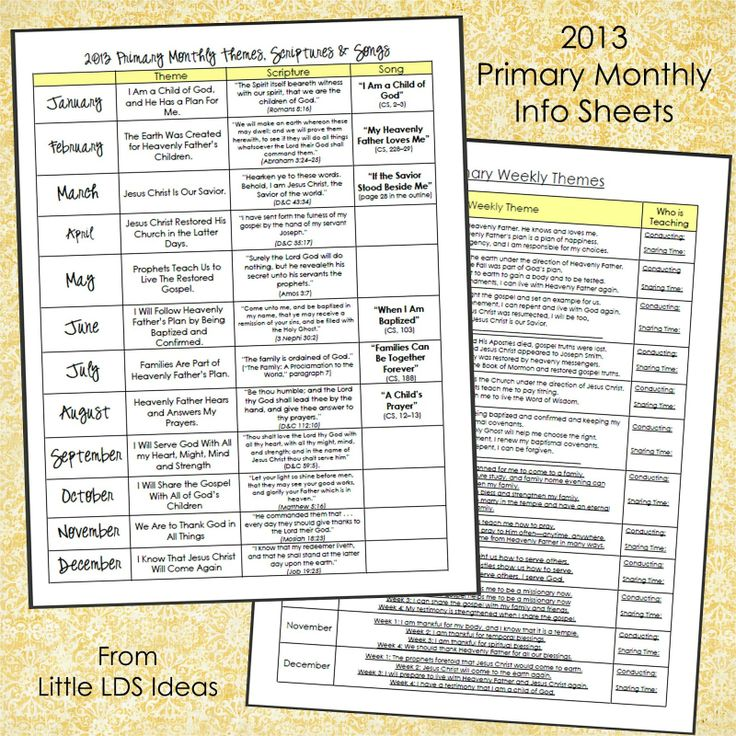 Little LDS Ideas: 2013 Primary Monthly Info Sheets {Free Printable}