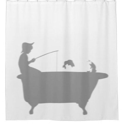 Fishing Boy Fish Behind Tub Silhouette Shadow Fun Shower Curtain - shower gifts diy customize creative