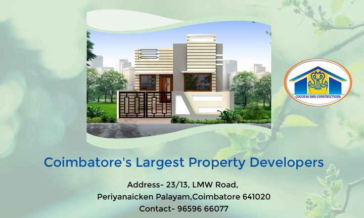 COCOFAS SMR Constructions has a variety of well constructed and elegant interior plans for you. Add value to your property with us! Coimbatore's Largest Property Developers Address- 23/13, LMW Road, Periyanaicken Palayam,Coimbatore 641020 Contact- 96596 66077