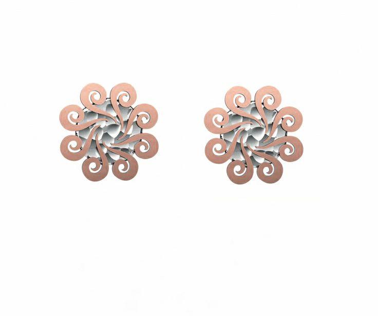 925 Sterling Silver Earrings Pink 18k. Gold #bohemme #jewelry #earrings #fashion #cute