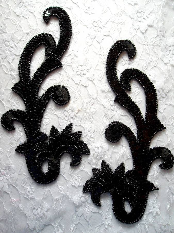 "0020 Black Mirror Pair Beaded Sequin Appliques 8"" Sewing and Craft Motif 