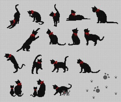 親子猫も3組、追加。クロスステッチ♪
