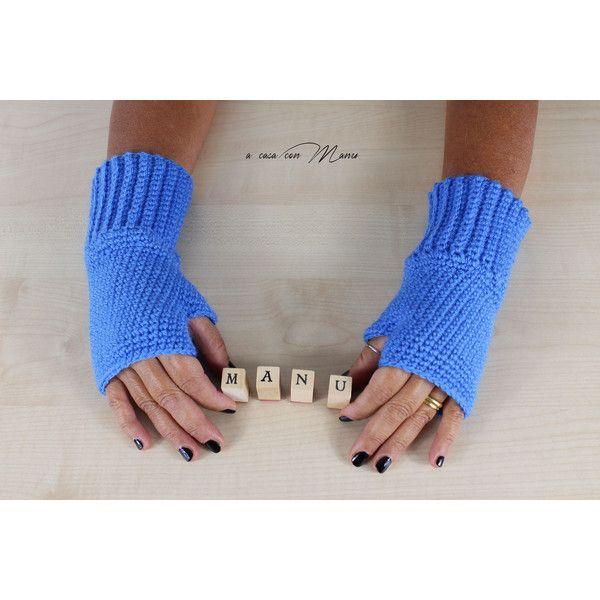 Guanti donna in lana, guanti senza dita a uncinetto, guanti color... (€10) via Polyvore featuring crochet gloves, woolen gloves, blue fingerless gloves, fingerless gloves and blue gloves