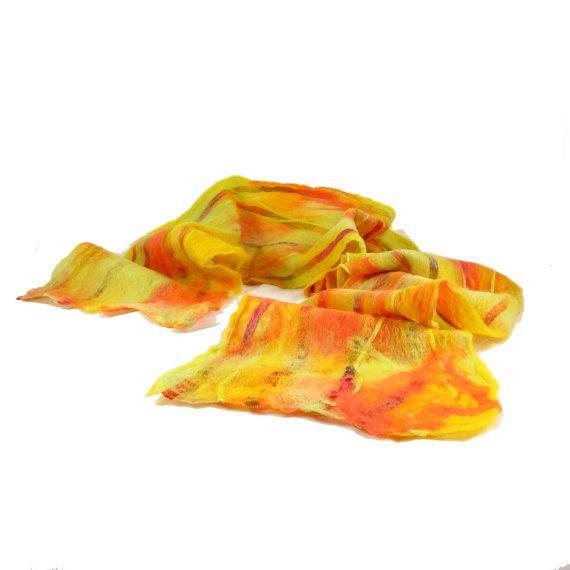 Cobweb Felt Scarf Wool Scarf in Neon Scarf Neon by Fibernique, $47.00