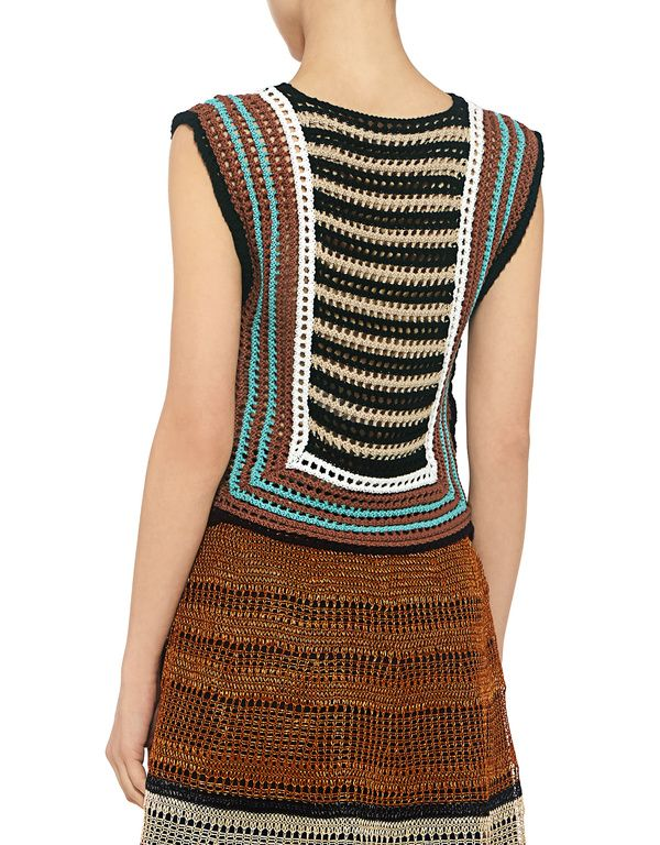 Red Valentino: Crochet Striped Cropped Knit Top (item view - 4)