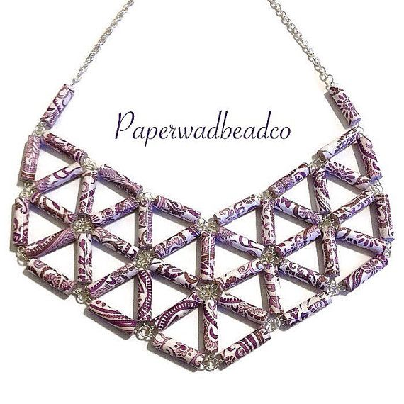 Paper Bead Jewelry, Paisley Paper Bead Bib Necklace, Purple Paisley Bib…                                                                                                                                                                                 Mais