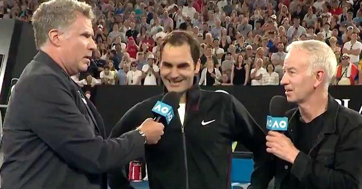Will Ferrell Interrupts Roger Federer Interview Goes Full Ron Burgundy