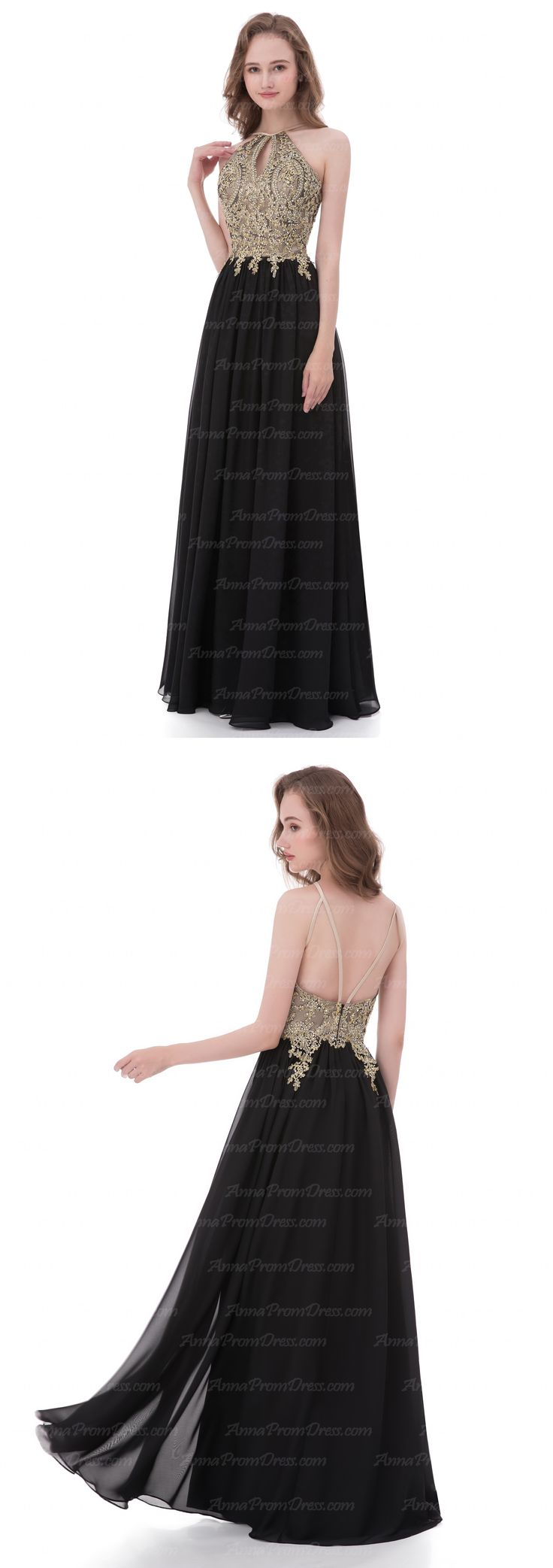 Black Prom Dresses A-line Prom Dress Halter Prom dress cheap prom dresses prom dresses 2018 Chiffon Long Sexy Prom Dress #annapromdress #prom #promdress #evening #eveningdress #dance #longdress #longpromdress #fashion #style #dress