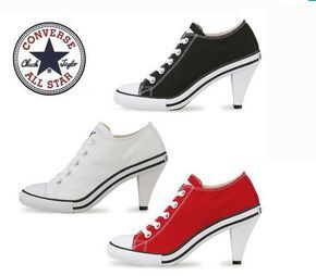 For when all of my ladies say i should wear more heels and less converse ALL STAR CONVERSE Sneakers HIGH HEEL Stiletto Bootie Low Cut Black White Red #Converse #Sneakers #bestofbothworlds