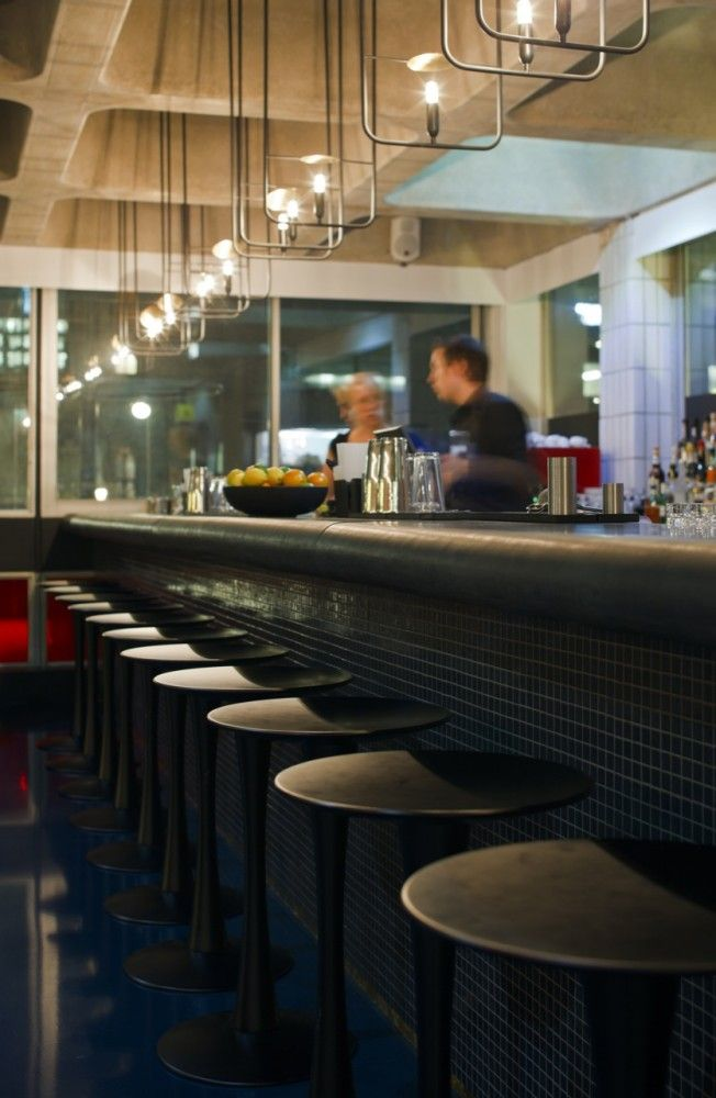 Barbican Foodhall and Lounge | SHH. lighting fixtures remind me of bus grab bars