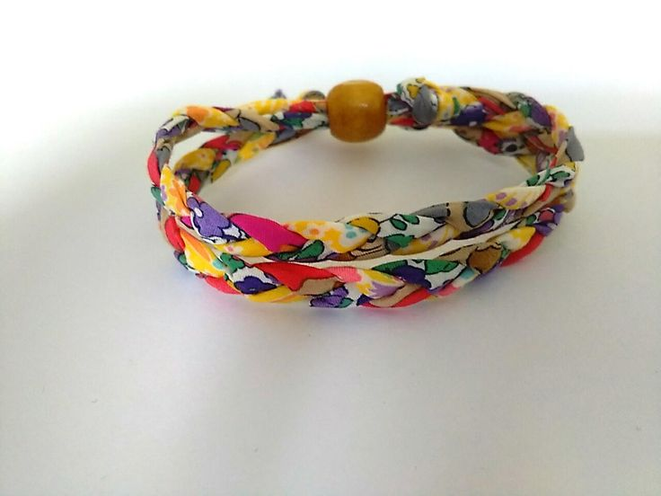 Brightly coloured Liberty Print fabric bracelet by BeelineEmporium on Etsy