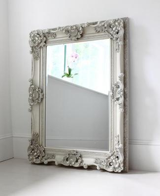 Medium White Ornate Mirror
