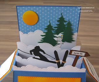 Klappkarte Klappbox Gutschein Skiwochenende Skifahren