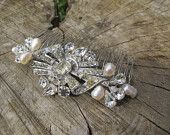 Vintage Crystal Bridal Hair comb with freshwater pearls