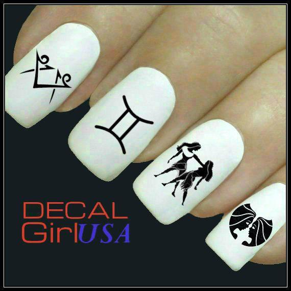 Gemini Nail Art Decals 32 Gemini Zodiac Nail by DecalGirlUSA, $3.85