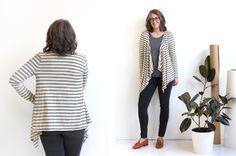 Grainline Studio - how to adjust a basic t-shirt pattern into a drape front cardigan