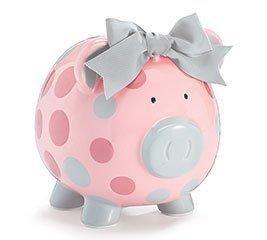 Pig Bank - Pink/Grey Dots - 9730281