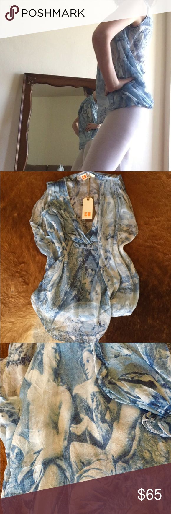 Boss Orange (Hugo Boss brand)Chiffon top Light ,airy ,Renaissance paintings.tag say size 4,but fits for XS-S. BOSS ORANGE Tops Blouses