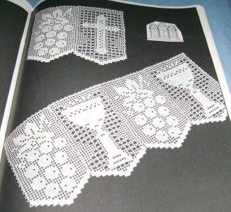 Elizabeth Hiddleson Crochet Edges 15 Many Widths Styles Altar Lace Filet Bunny   eBay Copas, Uvas, Cruces. Mantel Iglesia Filet crochet