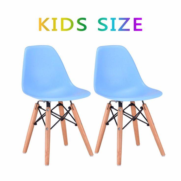Goplus Set di 2 Bambini Lato Pranzo Sedia Senza Braccia Modellato Sedile in plastica di Legno di Tasselli Gamba Moderna Sedia per Bambino Infantile HW56502