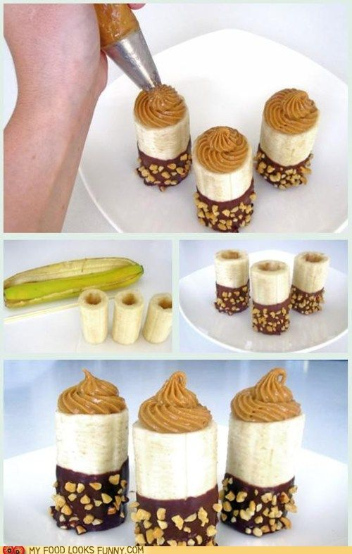 Peanut Butter Banana Bites. omgPeanut Butter Bananas, Fun Recipe, Chocolates Peanut Butter, Almond Butter, Banana Bites, Bananas Bites, Food Photos, Healthy Desserts, Chocolates Dips