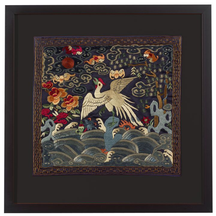 Chines Silk Embroidery With Blooms And A Crane. Find This Pin And More On Chinese  Wall Art ...