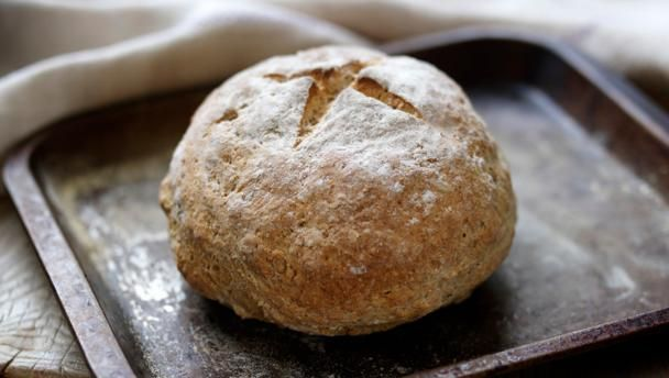 Irish soda bread |      Try this easy soda bread recipe for when you want bread in a hurry - it's ready in less than an hour.Each serving provides 215kcal, 8g protein, 43g carbohydrate (of which 3g sugars), 1g fat (of which 0.3g saturates), 1g fibre and 1g salt.