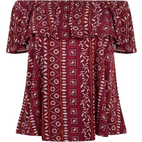 New Look Plus Size Red Aztec Print Bardot Neck Top ($19) ❤ liked on Polyvore featuring tops, red pattern, purple top, womens plus tops, women plus size tops, red top and plus size print tops