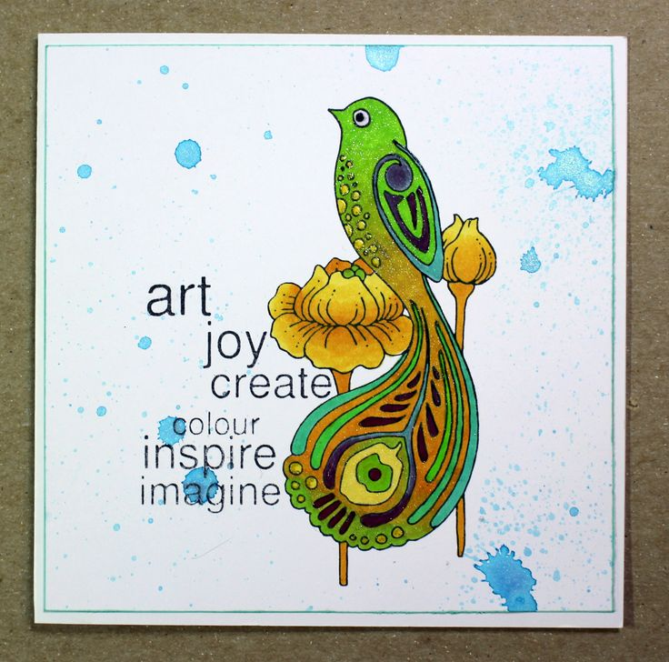 Quick and easy card created with the Bird of Joy stamp from Chocolate Baroque. Anne Waller #chocolatebaroque #stamping #cardmaking