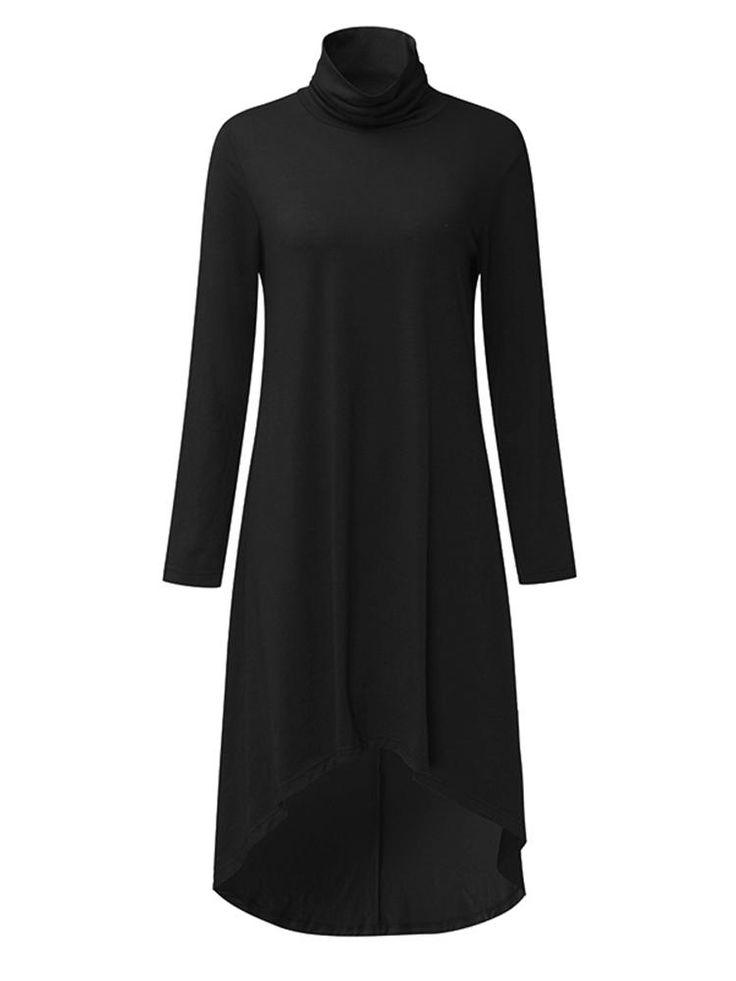 Women Turtleneck Asymmetrical High Low Hem Long Sleeve Dress at Banggood