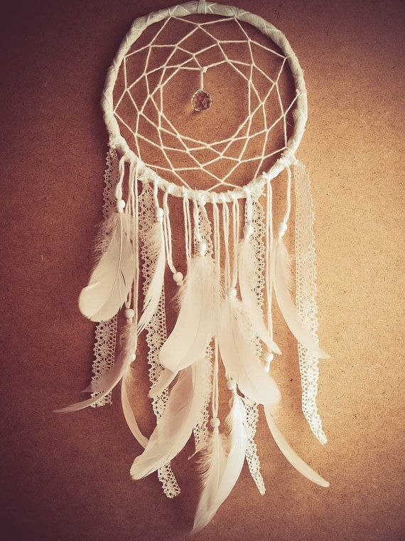Large Dream Catcher - White Dreams - With Sparkling Crystal Prism, White Swan Feathers, Textiles and Laces - Boho Home Decor, Nursery Mobile on Etsy, Sold