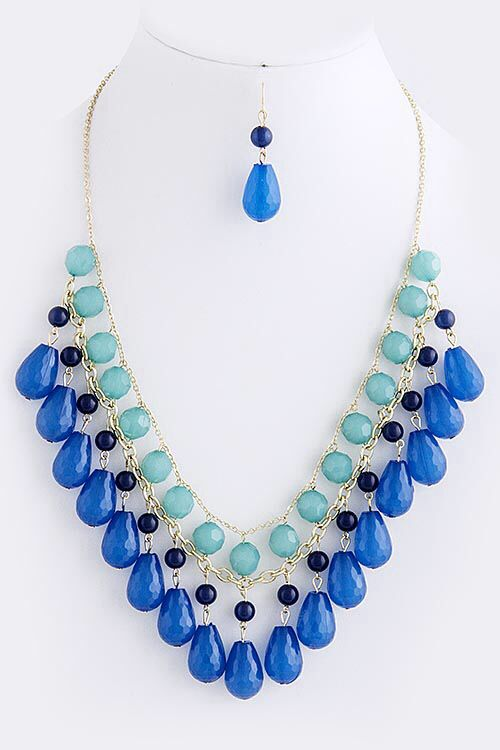 """Blue Multi Teardrop Layered Bead Necklace Set (earrings included) approx. 26"""" length with 2.5"""" extender and lobster claw clasp   $24.00 with FAST, FREE SHIPPING"""