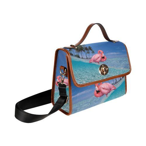 Flamingo and Palms Waterproof Canvas Bag/All Over Print. FREE Shipping. #artsadd #bags #flamingos