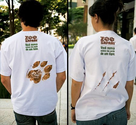 What a creative design to advertise Zoo Safari in Brazil! http://www.toxel.com/inspiration/2009/04/14/clever-and-creative-t-shirt-designs/