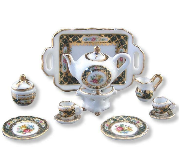 Set of 5 Art Hand Painted Teapot Dollhouse Miniatures Ceramic Supply Food